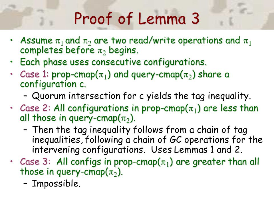 Proof of Lemma 3 Assume  1 and  2 are two read/write operations and  1 completes before  2 begins.Assume  1 and  2 are two read/write operations