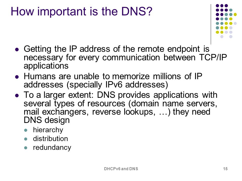 DHCPv6 and DNS15 How important is the DNS.