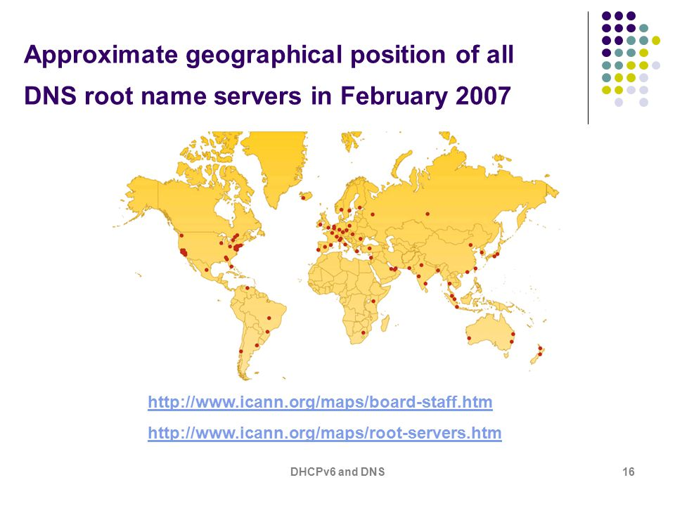 DHCPv6 and DNS16 Approximate geographical position of all DNS root name servers in February 2007 http://www.icann.org/maps/board-staff.htm http://www.