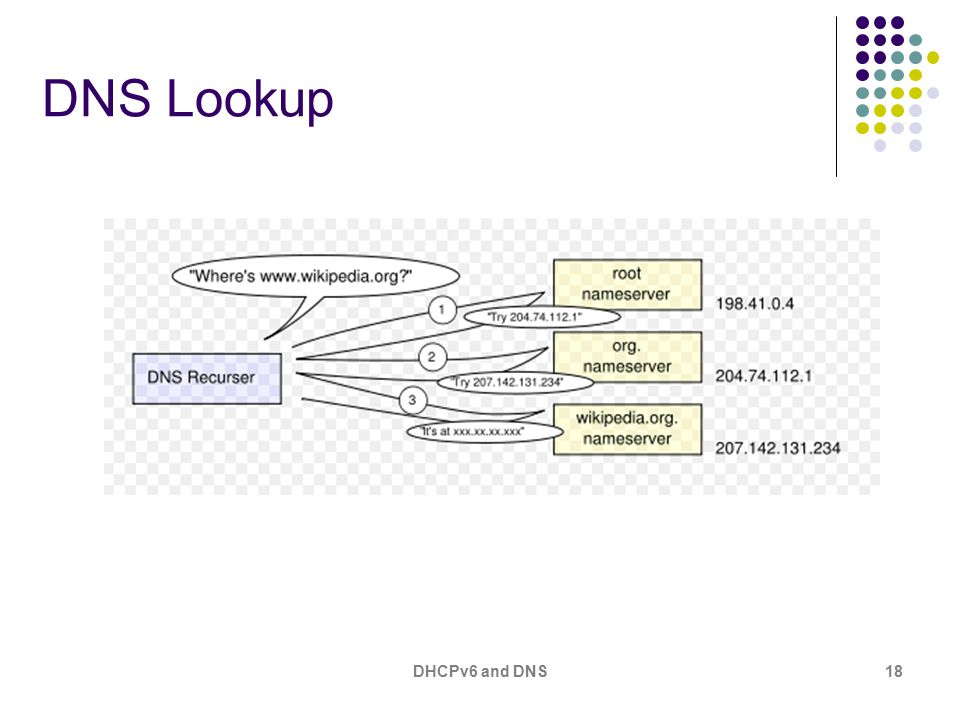 DHCPv6 and DNS18 DNS Lookup