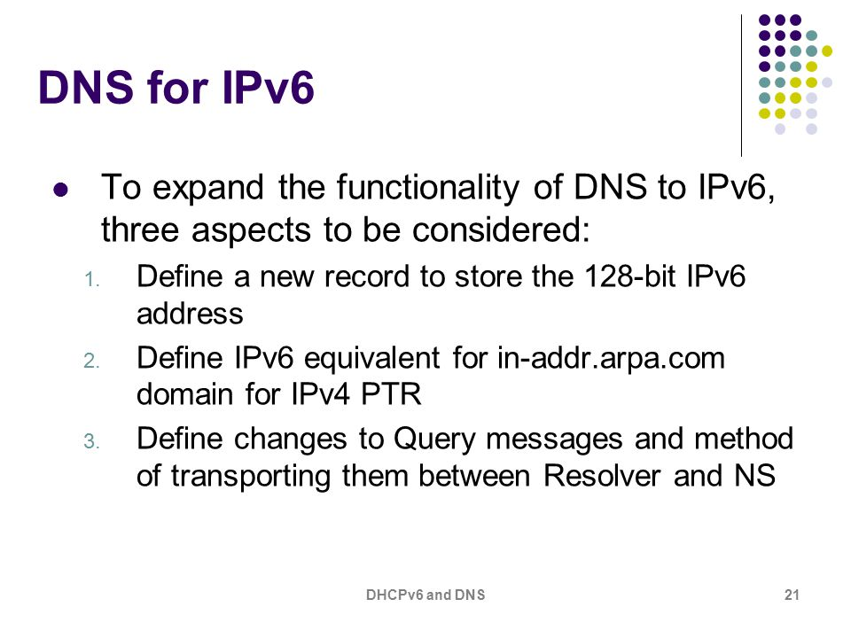 DHCPv6 and DNS21 DNS for IPv6 To expand the functionality of DNS to IPv6, three aspects to be considered: 1.