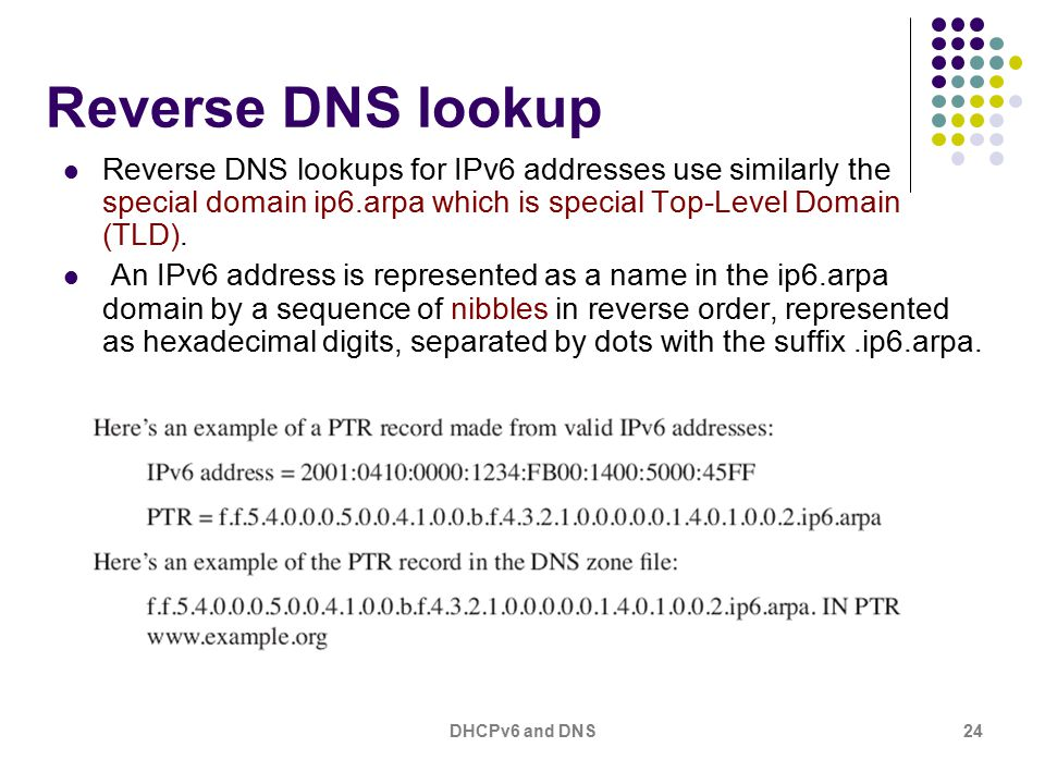 DHCPv6 and DNS24 Reverse DNS lookup Reverse DNS lookups for IPv6 addresses use similarly the special domain ip6.arpa which is special Top-Level Domain (TLD).