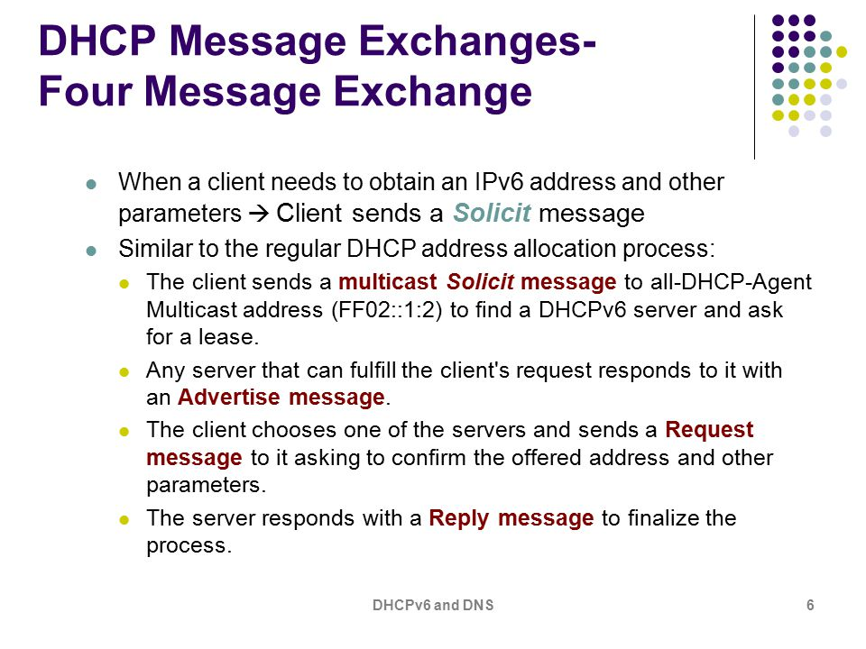 DHCPv6 and DNS6 DHCP Message Exchanges- Four Message Exchange When a client needs to obtain an IPv6 address and other parameters  Client sends a Solicit message Similar to the regular DHCP address allocation process: The client sends a multicast Solicit message to all-DHCP-Agent Multicast address (FF02::1:2) to find a DHCPv6 server and ask for a lease.