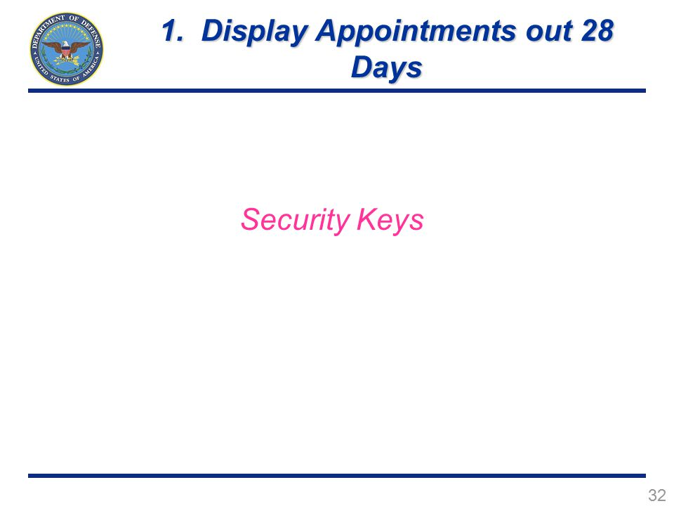 32 Security Keys 1. Display Appointments out 28 Days