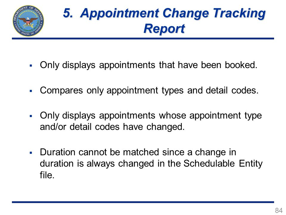 84  Only displays appointments that have been booked.