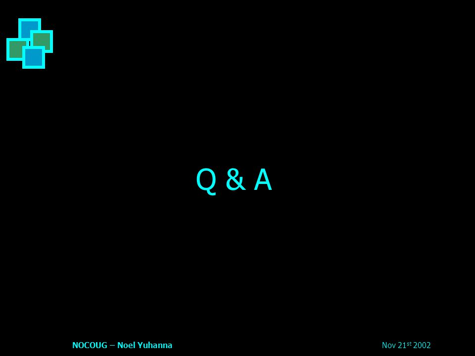 Nov 21 st 2002NOCOUG – Noel Yuhanna Q & A