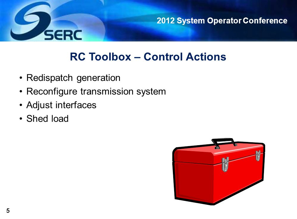 2012 System Operator Conference 5 RC Toolbox – Control Actions Redispatch generation Reconfigure transmission system Adjust interfaces Shed load