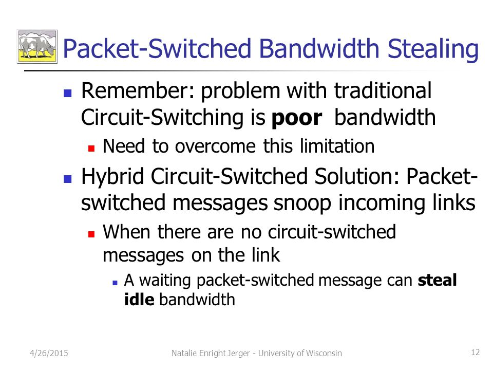 Packet-Switched Bandwidth Stealing Remember: problem with traditional Circuit-Switching is poor bandwidth Need to overcome this limitation Hybrid Circ