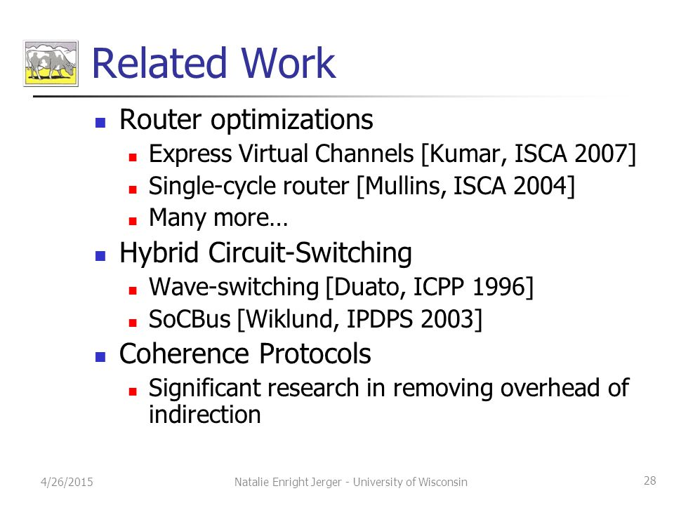Related Work Router optimizations Express Virtual Channels [Kumar, ISCA 2007] Single-cycle router [Mullins, ISCA 2004] Many more… Hybrid Circuit-Switc
