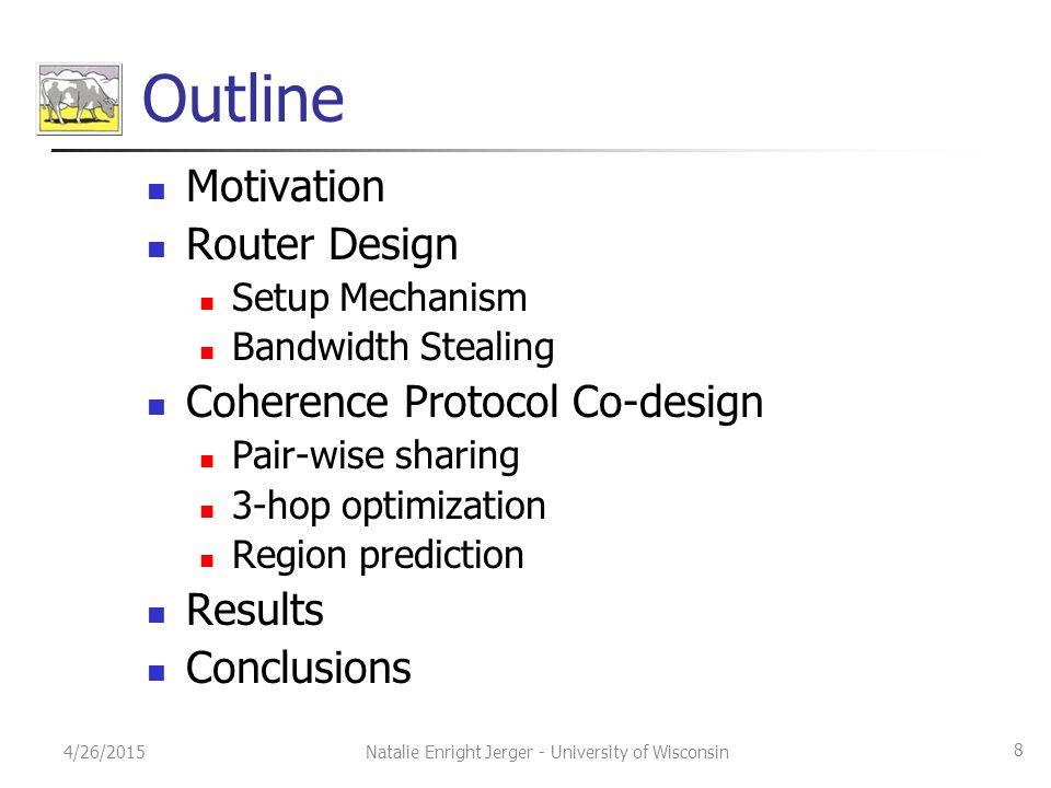 Outline Motivation Router Design Setup Mechanism Bandwidth Stealing Coherence Protocol Co-design Pair-wise sharing 3-hop optimization Region predictio