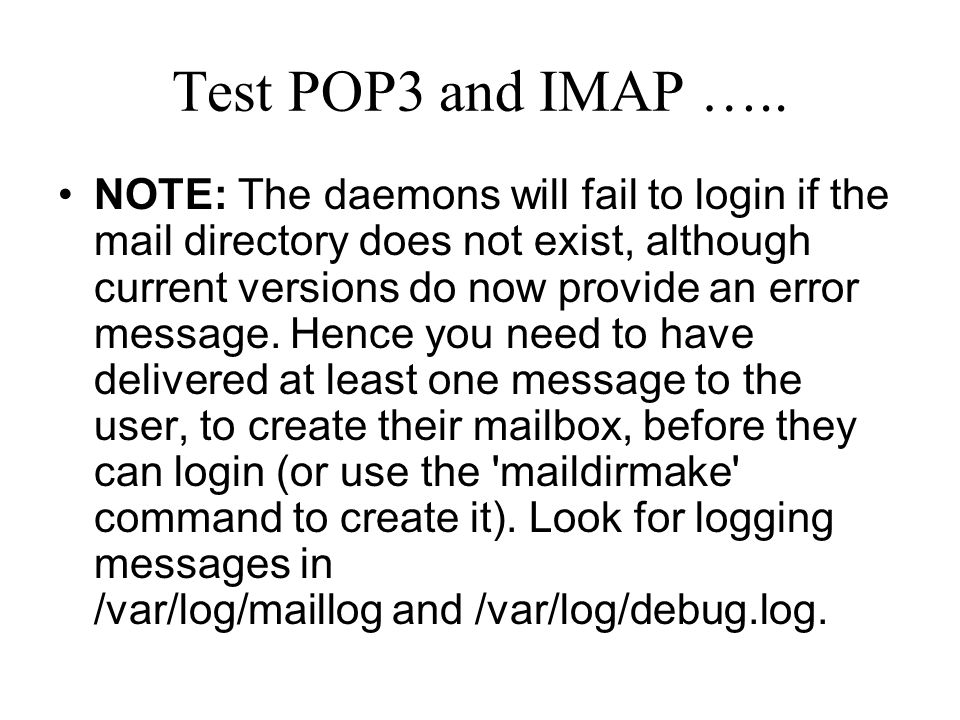 Test POP3 and IMAP …..