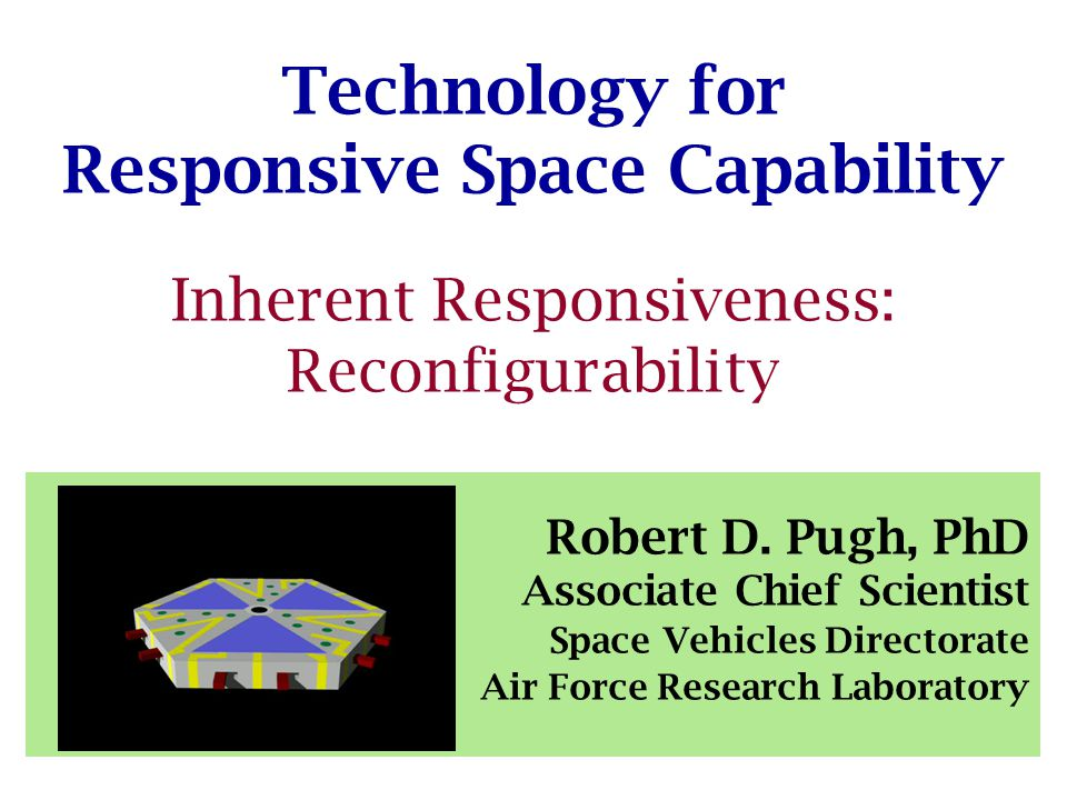 Technology for Responsive Space Capability Inherent Responsiveness: Reconfigurability Robert D.