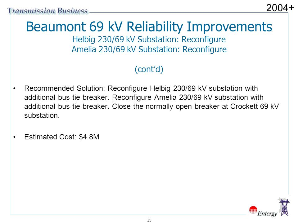 15 Beaumont 69 kV Reliability Improvements Helbig 230/69 kV Substation: Reconfigure Amelia 230/69 kV Substation: Reconfigure (cont'd) Recommended Solu