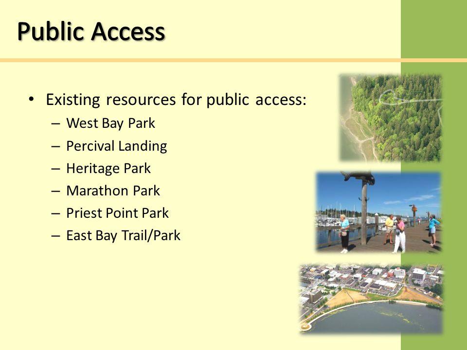 Existing resources for public access: – West Bay Park – Percival Landing – Heritage Park – Marathon Park – Priest Point Park – East Bay Trail/Park