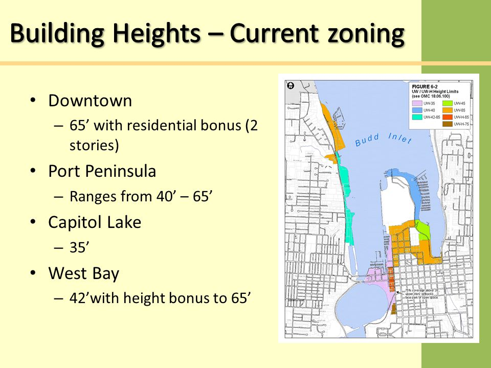 Downtown – 65' with residential bonus (2 stories) Port Peninsula – Ranges from 40' – 65' Capitol Lake – 35' West Bay – 42'with height bonus to 65'