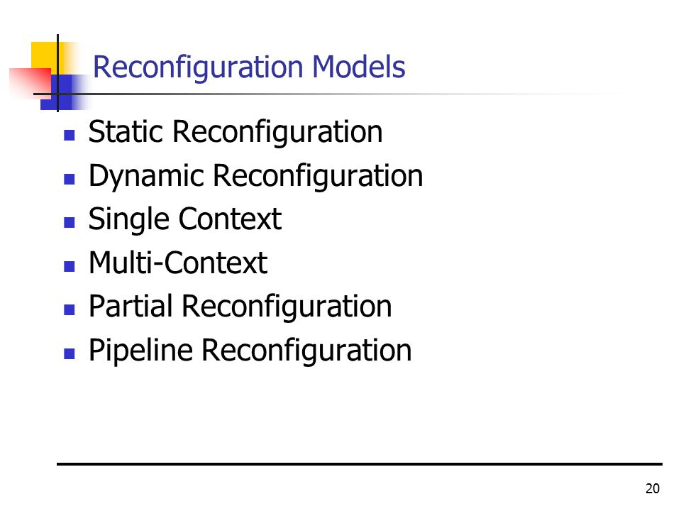 20 Reconfiguration Models Static Reconfiguration Dynamic Reconfiguration Single Context Multi-Context Partial Reconfiguration Pipeline Reconfiguration