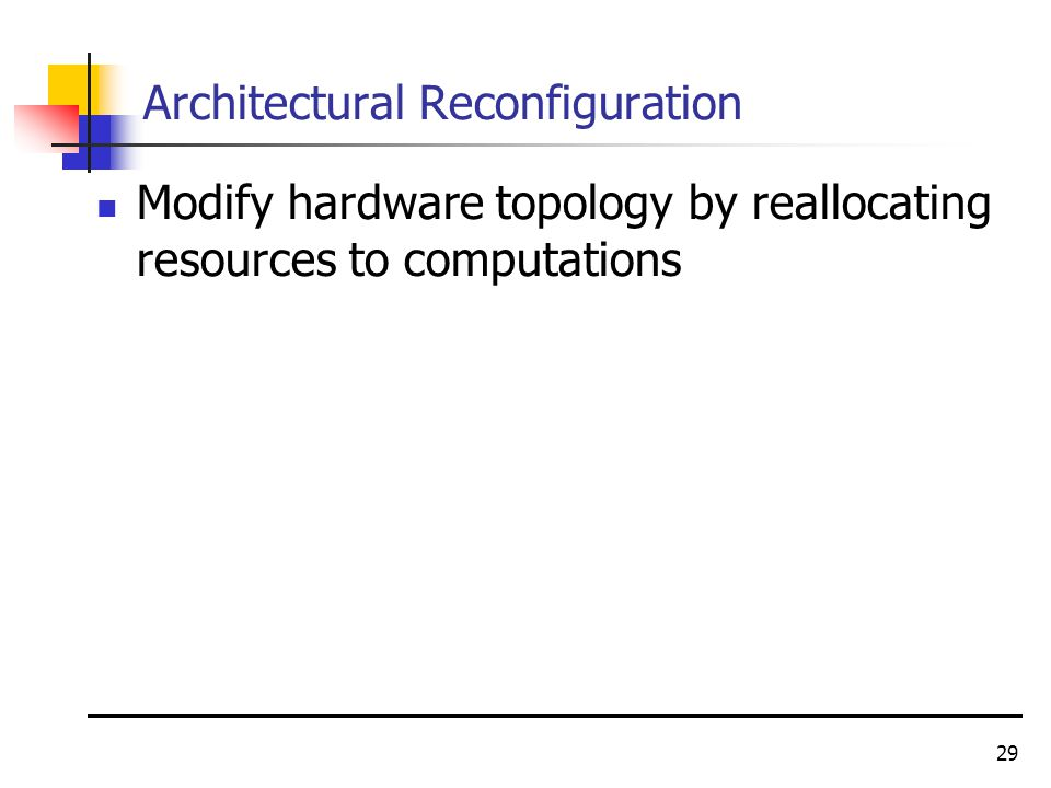 29 Architectural Reconfiguration Modify hardware topology by reallocating resources to computations