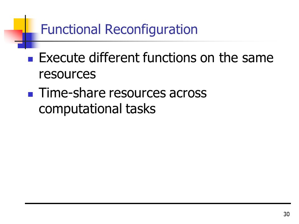 30 Functional Reconfiguration Execute different functions on the same resources Time-share resources across computational tasks
