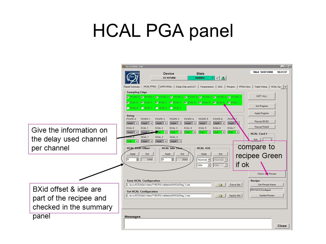 HCAL PGA panel Give the information on the delay used channel per channel BXid offset & idle are part of the recipee and checked in the summary panel compare to recipee Green if ok