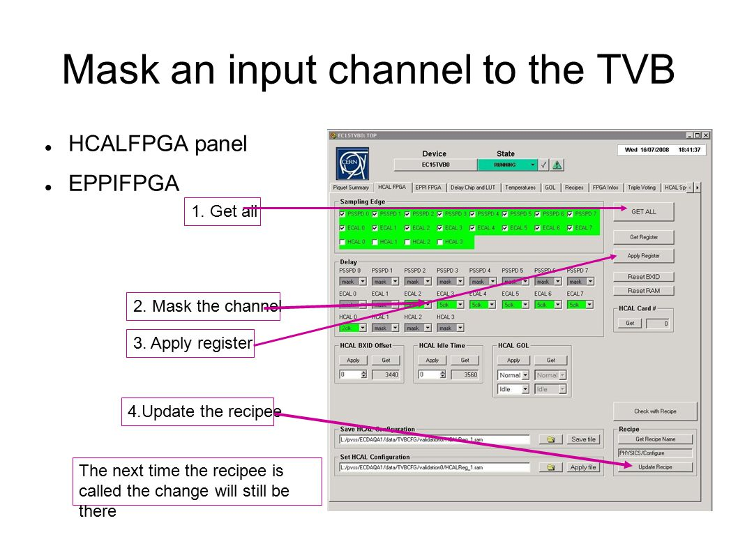 Mask an input channel to the TVB HCALFPGA panel EPPIFPGA 2.