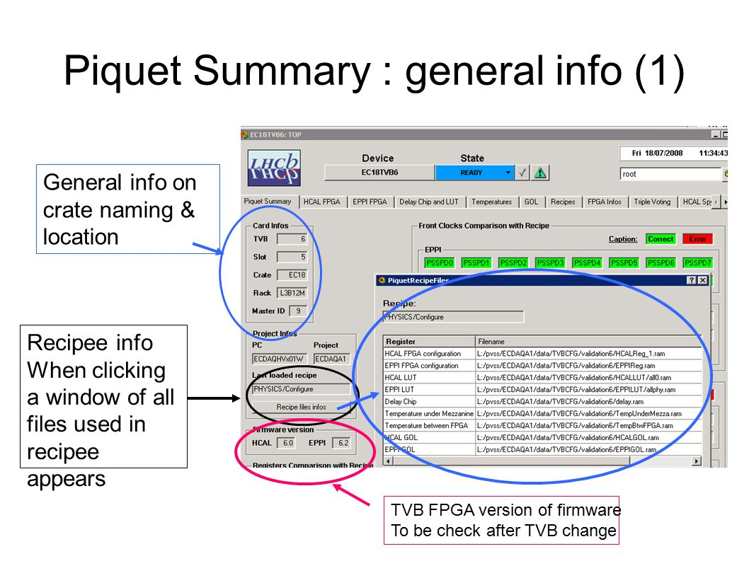 Piquet Summary : general info (1) General info on crate naming & location Recipee info When clicking a window of all files used in recipee appears TVB FPGA version of firmware To be check after TVB change