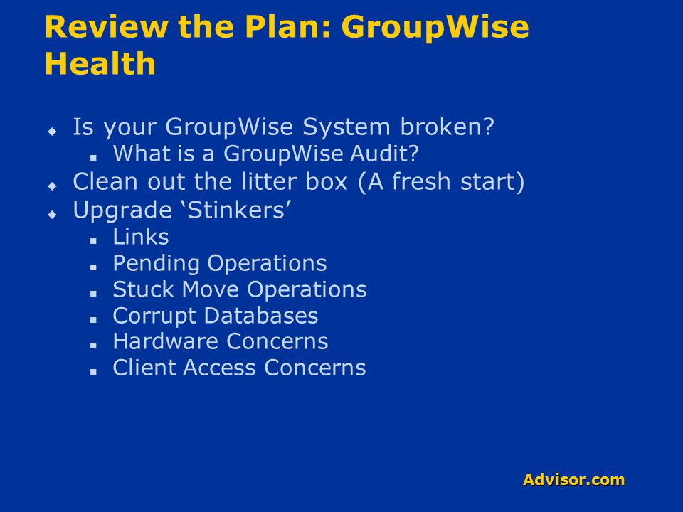 Advisor.com Review the Plan: The Upgrade Process  Pack your suitcase Iron out the Plan Fold up the Document Be GPS ready (aka.