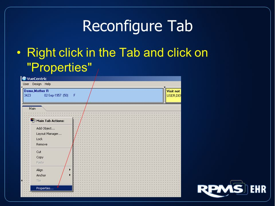 Reconfigure Tab Right click in the Tab and click on Properties