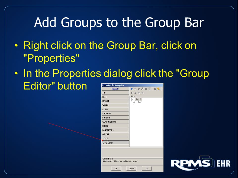 Add Groups to the Group Bar Right click on the Group Bar, click on Properties In the Properties dialog click the Group Editor button