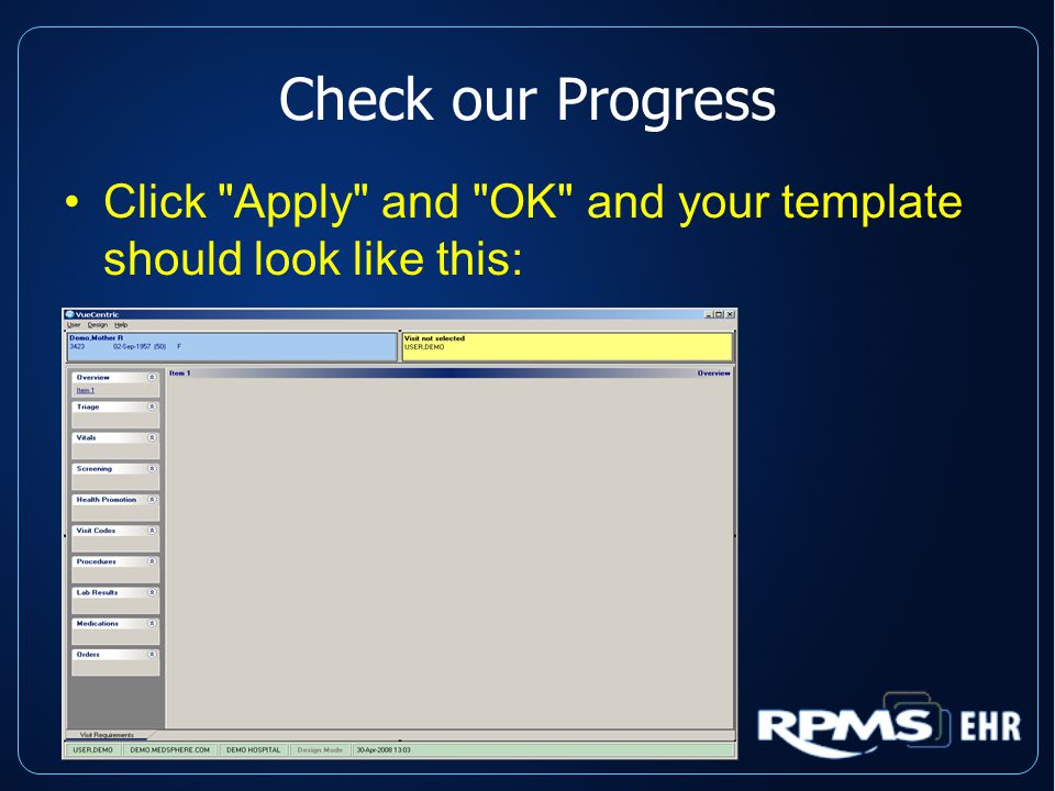 Check our Progress Click Apply and OK and your template should look like this: