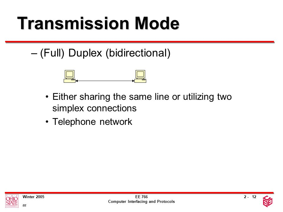 2 - Winter 2005 EE EE 766 Computer Interfacing and Protocols 12 Transmission Mode –(Full) Duplex (bidirectional) Either sharing the same line or utilizing two simplex connections Telephone network