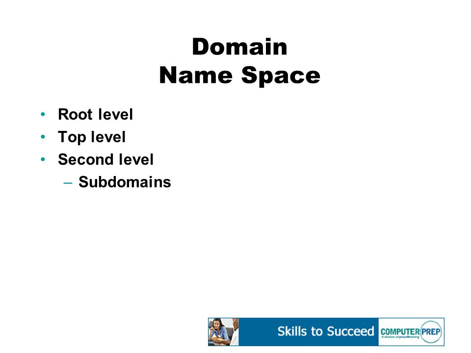 Domain Name Space Root level Top level Second level –Subdomains