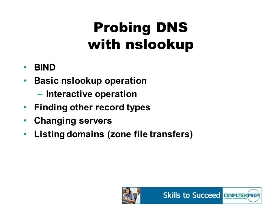 Probing DNS with nslookup BIND Basic nslookup operation –Interactive operation Finding other record types Changing servers Listing domains (zone file transfers)