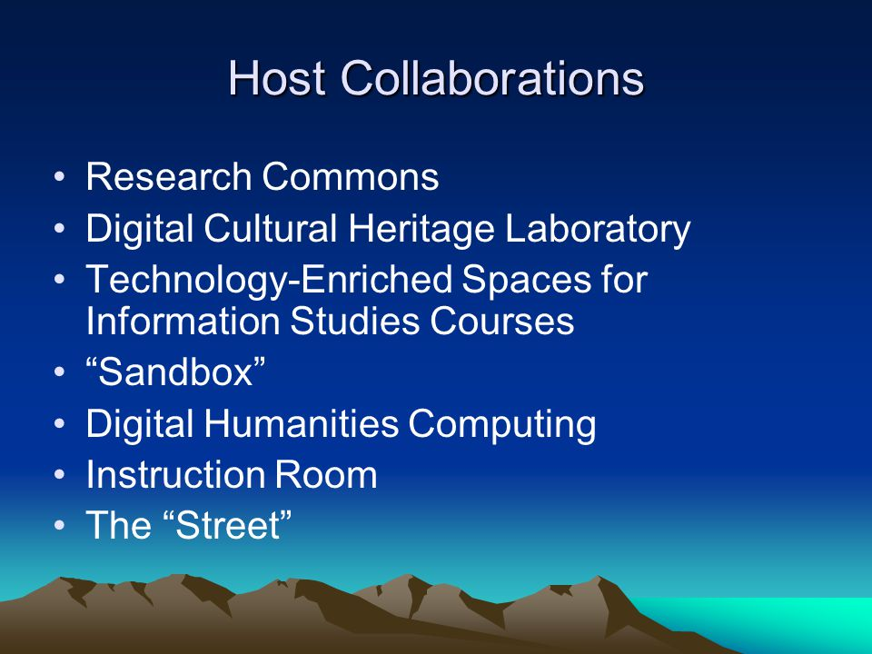 Host Collaborations Research Commons Digital Cultural Heritage Laboratory Technology-Enriched Spaces for Information Studies Courses Sandbox Digital Humanities Computing Instruction Room The Street