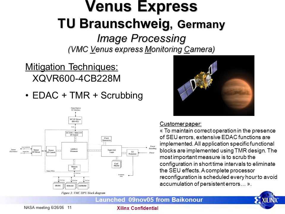 Xilinx Confidential NASA meeting 6/26/06 11 Venus Express TU Braunschweig, Germany Image Processing (VMC Venus express Monitoring Camera) Mitigation Techniques: XQVR600-4CB228M EDAC + TMR + Scrubbing Customer paper: « To maintain correct operation in the presence of SEU errors, extensive EDAC functions are implemented.