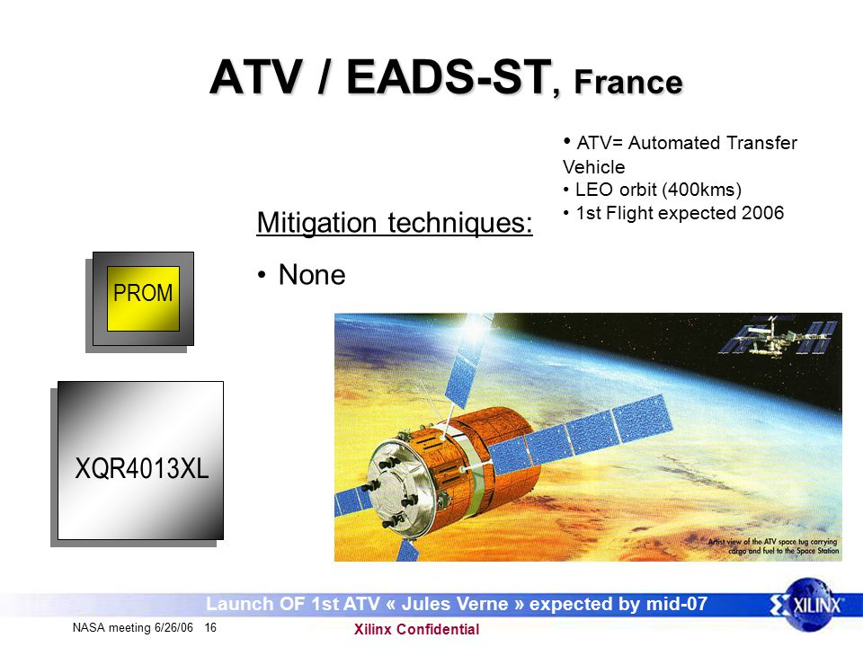 Xilinx Confidential NASA meeting 6/26/06 16 ATV / EADS-ST, France PROM Mitigation techniques: None ATV= Automated Transfer Vehicle LEO orbit (400kms) 1st Flight expected 2006 XQR4013XL Launch OF 1st ATV « Jules Verne » expected by mid-07