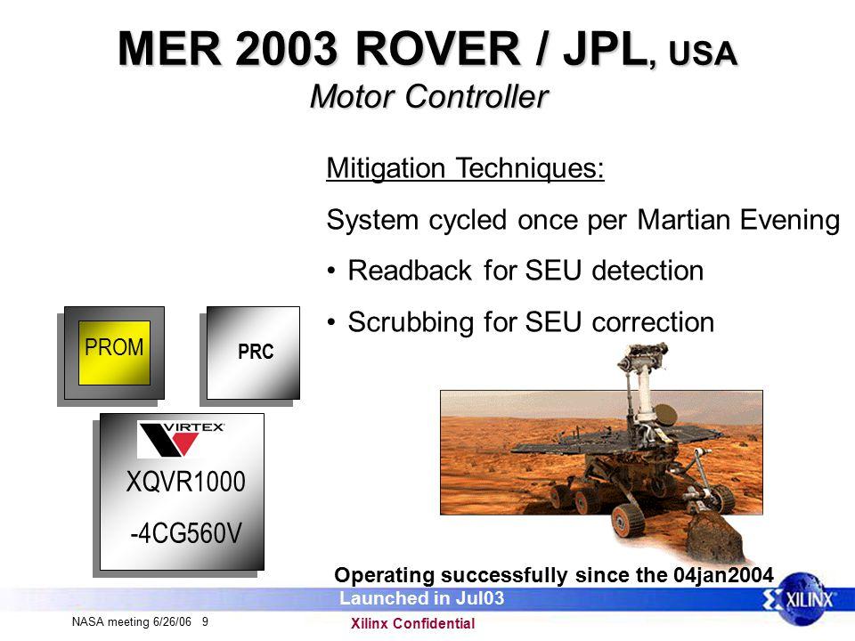 Xilinx Confidential NASA meeting 6/26/06 20 Xilinx in Space Next to launch – CrIs (ITT) XQR2V6000 – Birch (ITT) XQR2V6000 – Hifes (Sandia) XQR2V3000 – Cayman (Boeing) XQVR300 – DRP (General Dynamics) XQR2V3000 Etc…..