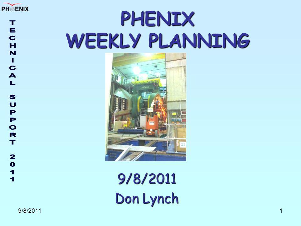 9/8/20111 PHENIX WEEKLY PLANNING 9/8/2011 Don Lynch