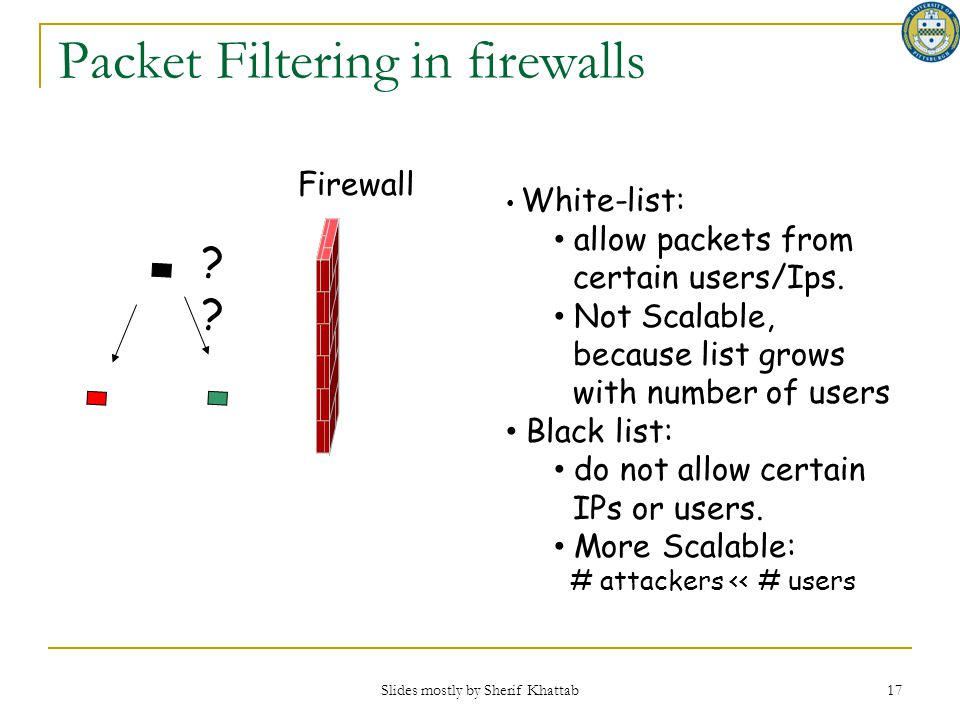 Slides mostly by Sherif Khattab 17 Firewall? Packet Filtering in firewalls White-list: allow packets from certain users/Ips. Not Scalable, because lis