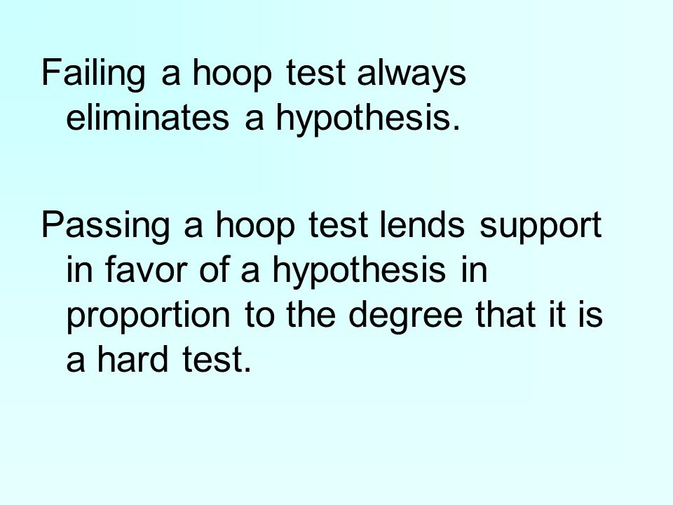 Failing a hoop test always eliminates a hypothesis.
