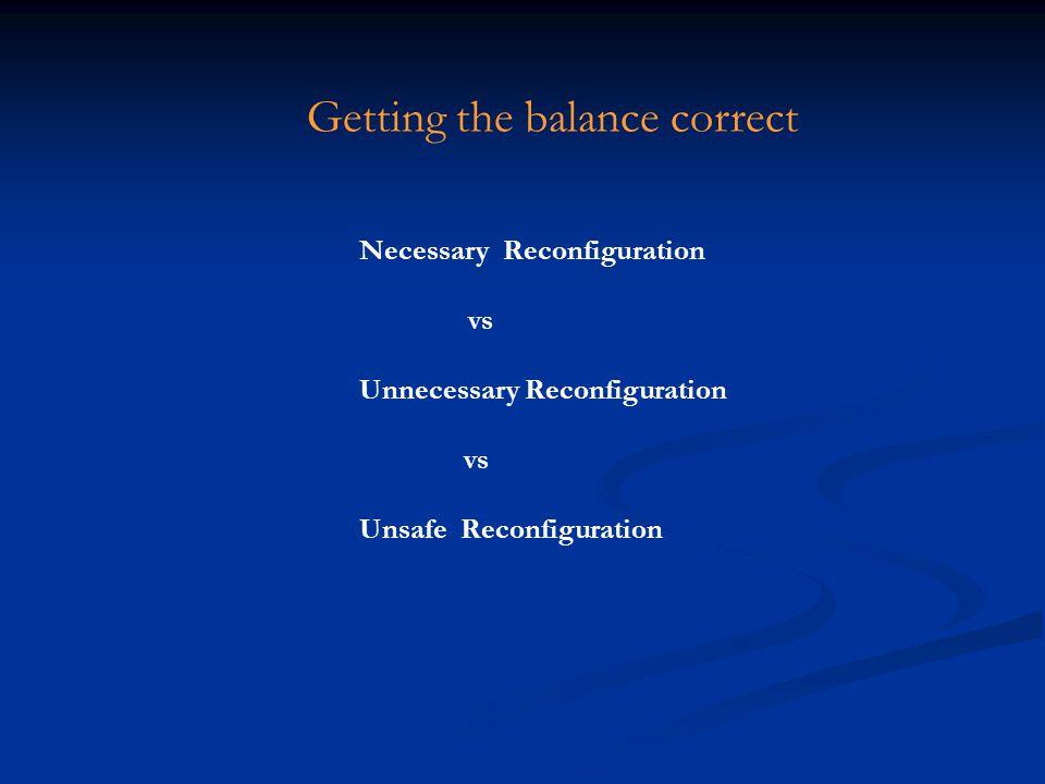 Necessary Reconfiguration vs Unnecessary Reconfiguration vs Unsafe Reconfiguration Getting the balance correct