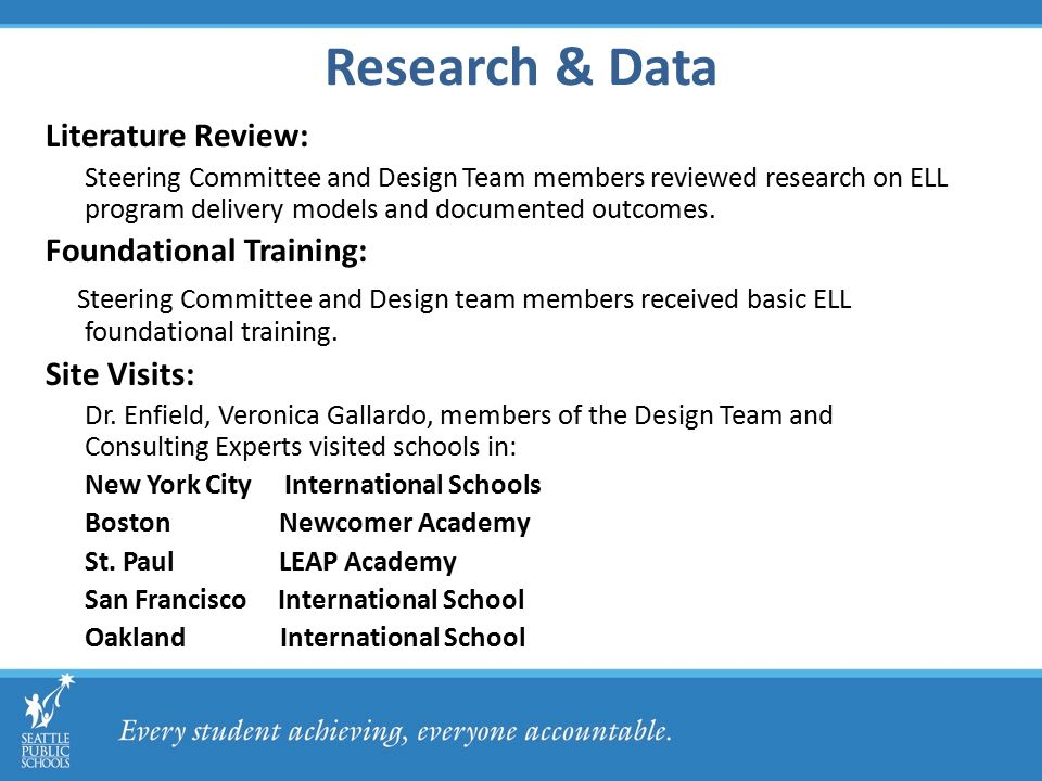 Research & Data Literature Review: Steering Committee and Design Team members reviewed research on ELL program delivery models and documented outcomes.