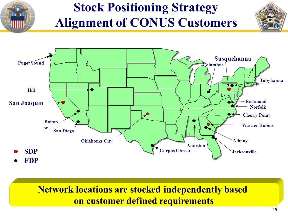 15 Network locations are stocked independently based on customer defined requirements Stock Positioning Strategy Alignment of CONUS Customers San Joaquin Oklahoma City Warner Robins Susquehanna Corpus Christi Hill Barsto w San Diego Albany Jacksonville Anniston Tobyhanna Cherry Point Norfolk Richmond Puget Sound Columbus SDP FDP