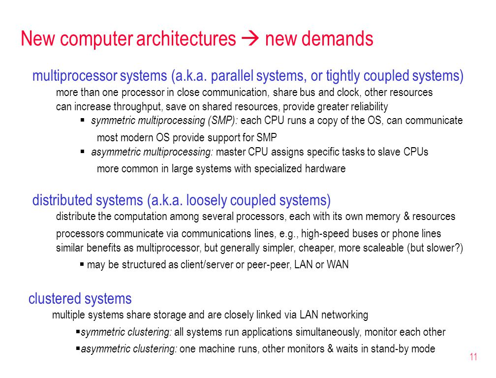 11 New computer architectures  new demands multiprocessor systems (a.k.a.