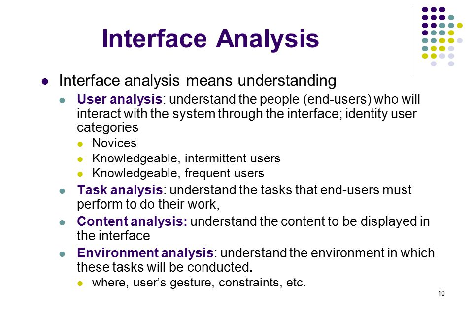 10 Interface Analysis Interface analysis means understanding User analysis: understand the people (end-users) who will interact with the system throug