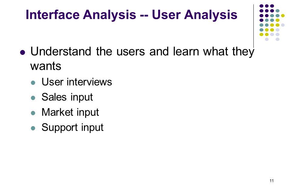 11 Interface Analysis -- User Analysis Understand the users and learn what they wants User interviews Sales input Market input Support input