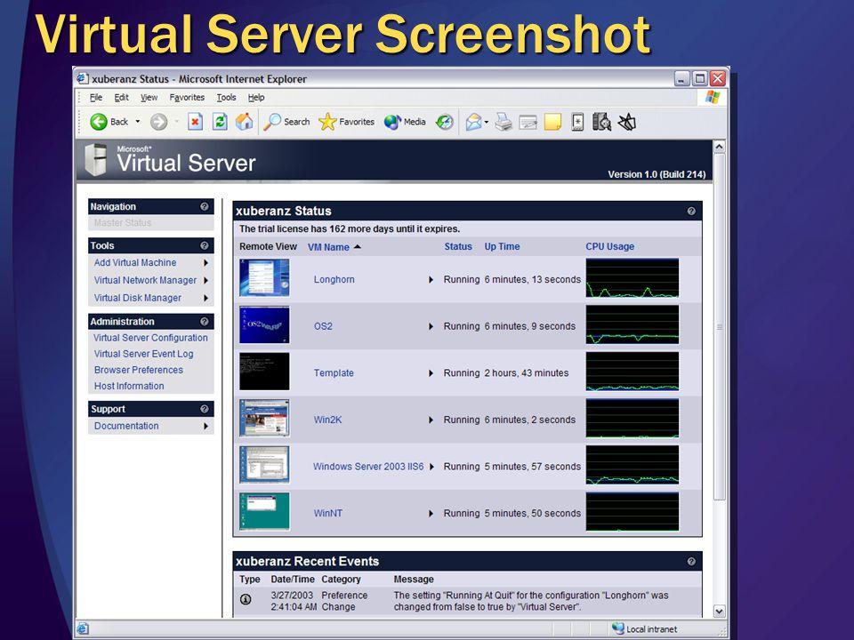 Virtual Server Screenshot