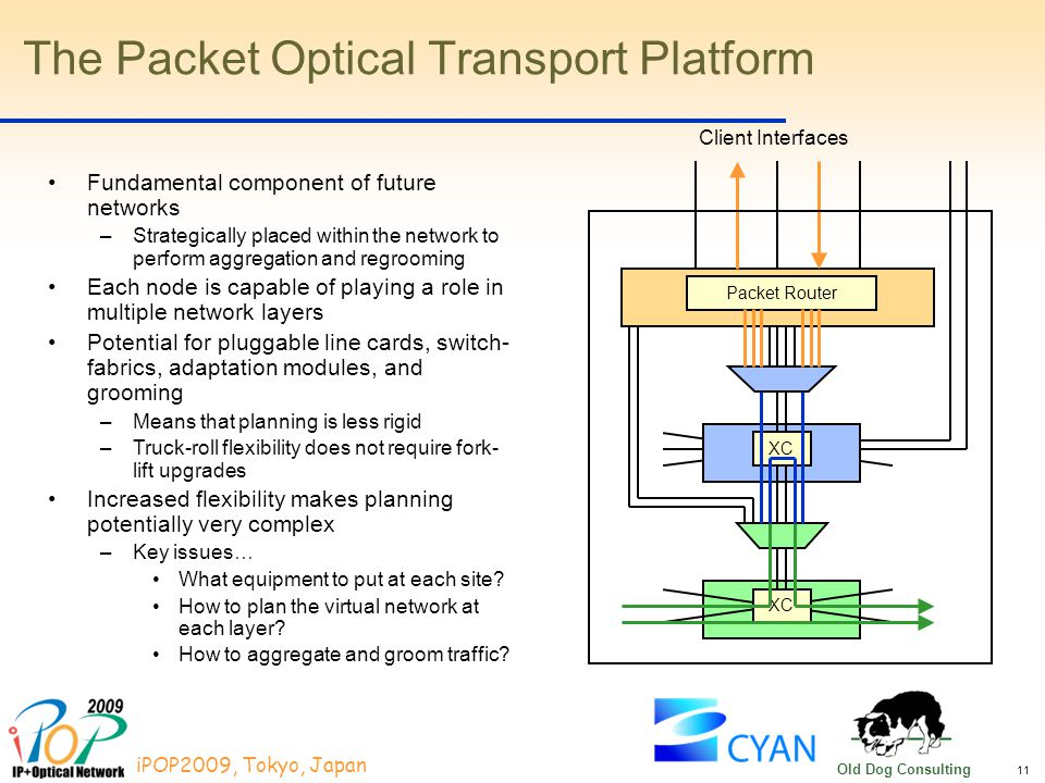 11 iPOP2009, Tokyo, Japan Old Dog Consulting The Packet Optical Transport Platform XC Packet Router Fundamental component of future networks –Strategically placed within the network to perform aggregation and regrooming Each node is capable of playing a role in multiple network layers Potential for pluggable line cards, switch- fabrics, adaptation modules, and grooming –Means that planning is less rigid –Truck-roll flexibility does not require fork- lift upgrades Increased flexibility makes planning potentially very complex –Key issues… What equipment to put at each site.