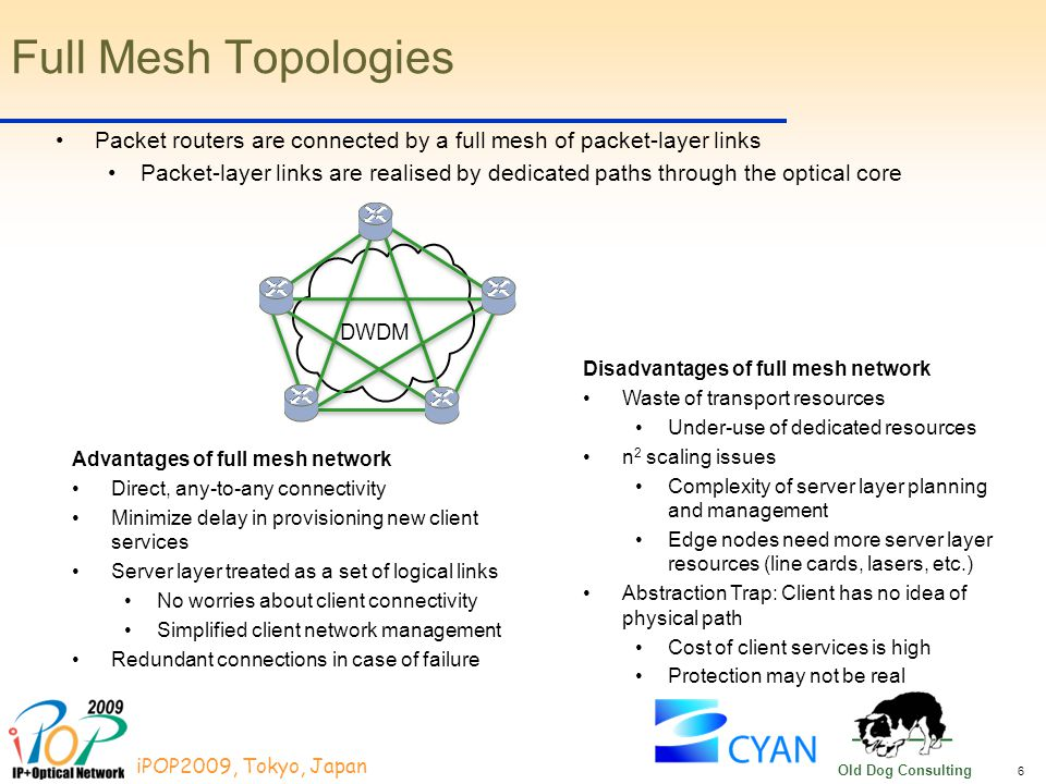 6 iPOP2009, Tokyo, Japan Old Dog Consulting Advantages of full mesh network Direct, any-to-any connectivity Minimize delay in provisioning new client services Server layer treated as a set of logical links No worries about client connectivity Simplified client network management Redundant connections in case of failure Full Mesh Topologies Packet routers are connected by a full mesh of packet-layer links Packet-layer links are realised by dedicated paths through the optical core DWDM Disadvantages of full mesh network Waste of transport resources Under-use of dedicated resources n 2 scaling issues Complexity of server layer planning and management Edge nodes need more server layer resources (line cards, lasers, etc.) Abstraction Trap: Client has no idea of physical path Cost of client services is high Protection may not be real