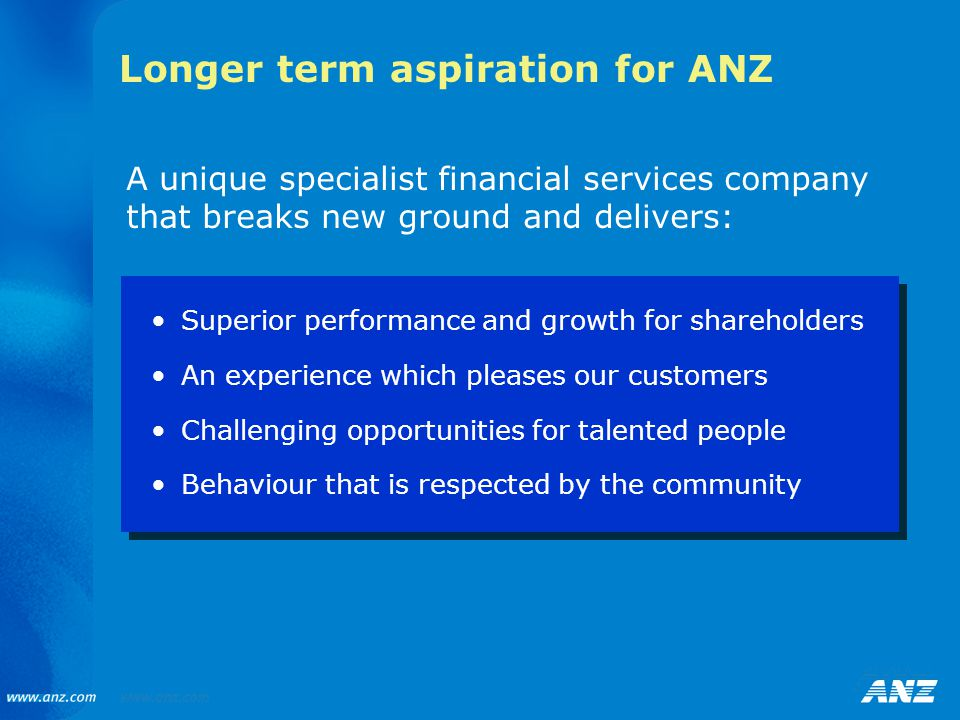 Longer term aspiration for ANZ Superior performance and growth for shareholders An experience which pleases our customers Challenging opportunities fo