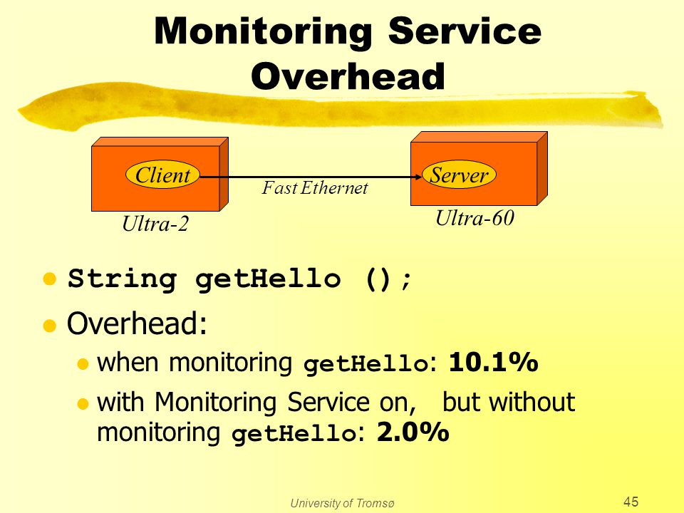 University of Tromsø 45 Monitoring Service Overhead l String getHello (); l Overhead: when monitoring getHello : 10.1% with Monitoring Service on, but without monitoring getHello : 2.0% Ultra-2 Ultra-60 ClientServer Fast Ethernet
